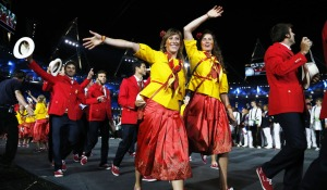 Spain's costume at the London 2012 Opening Ceremony. The procession resembled the tribute's entrance in the Hunger Games