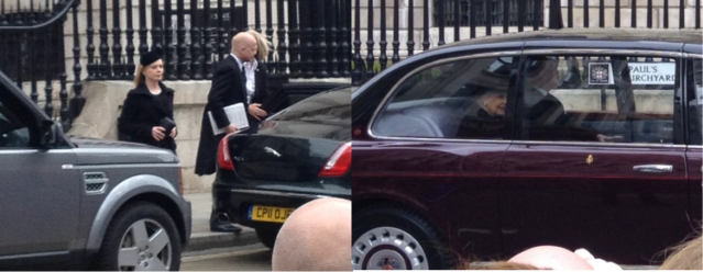 Left: William Hague, the foreign secretary as he leaves the funeral. Right: The Queen leaving the funeral