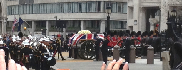 Crowds cheered as Thatcher's coffin approached St Paul's Cathedral. Image © of Hollie Borland