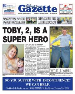 Front page of the West Somerset County Gazette. Listen to Toby's 999 phone call here.